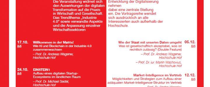 Vierte Staffel der öffentlichen Vortragsreihe Digitalisierung der Hochschule Hof ab Oktober