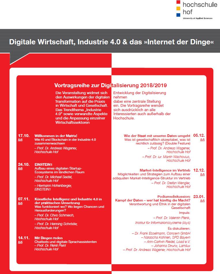 Vortragsreihe Digitale Wirtschaft Hochschule Hof 2018